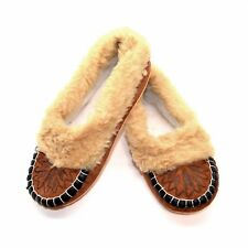 Womens Sheepskin Full Slippers Handmade Wool Moccasins All Size UK 3 4 5 6 7 8 N