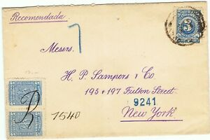 COLOMBIA 1904 RARE provisional use AR for registered cover