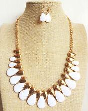 Vintage Style 20's Gold Chain White Oval Shape Enamel Necklace Earrings Set