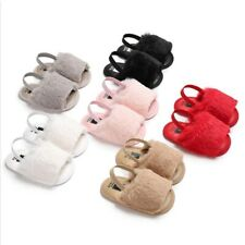 Baby Girl Soft Sole Crib Shoes Fluffy Fur Slipper Sandals Newborn Infant Toddler