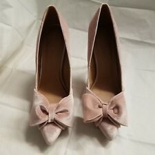 ASOS PRETTY BOW COURT SHOES, PALE PINK VELVET