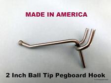 "(10 PACK) 2 Inch All Metal Peg Hooks 1/8"" to 1/4"" Pegboard, Slatwall, Garage kit"