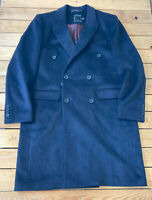 Topman Men's Button Up wool Trench Coat Size XL In Charcoal Gray