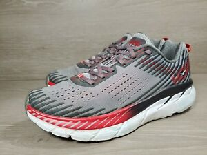 Hoka One One Clifton 5 Men's Sz. 9 Running Shoes Gray Red 1093755 ASGY (a1