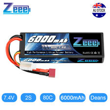 Zeee 2S 80C 6000mAh 7.4V LiPo Battery Hardcase Deans Plug for RC Car Truck Boat