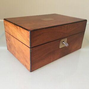 Antique Figured Walnut Jewellery Sewing Box Brass Inlay Working Lock & Key 22cm