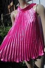 Neu sexy Neckholder Plissee Top Satin Gr 36 38 40 Tunika schwarz pink weiß Bluse