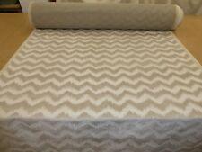 NATURAL BEIGE - Stunning Zig Zag Striped Design Velvet Upholstery Fabric