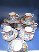Vintage Set of 8 Imari Demitasse Cup w/Saucer Japanese Red Blue & Gold