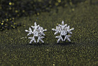 925 Sterling Silver Rough Snowflake Stud Earrings Womens Ladies Jewellery Gift