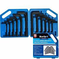 Bluespot 12pc Large Jumbo Hex Allen Key Set Imperial Metric Hexagon Wrench Keys