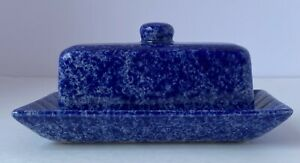 Cobalt Blue Spongeware Covered Butter Dish ADA American Dairy Association USA