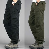 Mens 7 Pockets Cargo Military Pants Work Trousers Cotton Army Solid Outdoor Long