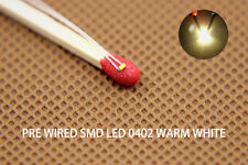 T0402WM 20pcs Pre-soldered micro litz wired leads Warm White SMD Led 0402 NEW