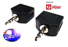 From OZ Quality 2PC 2 x 3.5mm Female To 1 x 3.5mm Male Stereo Plug Adapter +FP!