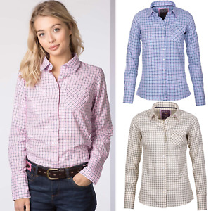 Ladies Shirt Country Checked Pattern Shirt Rydale Soft Cotton Women's Blouse Top