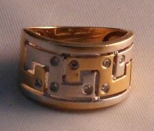 Ring Bi Color Mäander Muster Diamant 585 gold Handarbeit