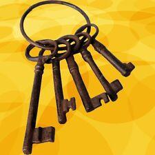 Eisenschlüssel Zier Set 5 x Dorn Eisen Ring antik Vintage Deko schlüssel Bund