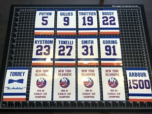 New York Islanders Stanley Cup & Retired #'s  Decal Replica  Banners Man Cave