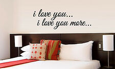 I LOVE YOU I LOVE YOU MORE vinyl wall lettering quote decor/sticker