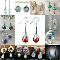 Fashion 925 Silver Ruby Ear Hook Dangle Drop Earrings Wedding Handmade Gift
