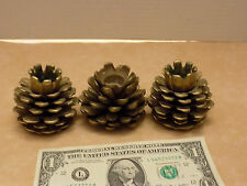 Vintage 3 Solid Brass Heavy Pine Cone's Candle Stick Holder's