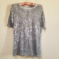 Aventura Women's Round Neck Gray Floral Print Short Sleeve Top Size Medium