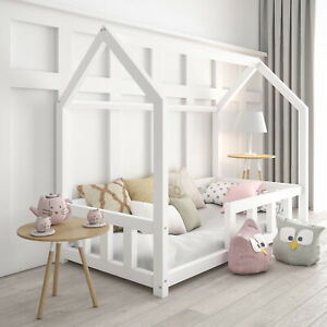 Kinderbett Kinderhaus Holz Haus Einzelbett Hausbett 120x200 weiss niedriges