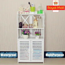 Wooden Bathroom Cabinet Shelf Cupboard Storage Bedroom Unit Free Standing White