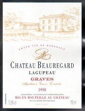 Étiquette Château BEAUREGARD LAGUPEAU. 1998. GRAVES