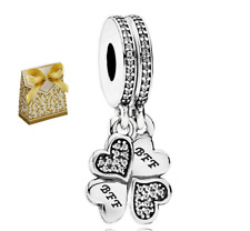 925 Silver BEST FRIENDS BFF Clover Dropper Dangle 2 Charms set +gold gift box