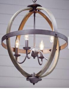 Progress Lighting Keowee 4-Light Artisan Iron Chandelier with Elm Wood Accents