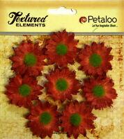 Mini Daisies ANT RED x 8 BURLAP 30mm across Textured Elements Petaloo