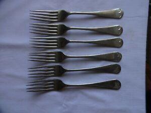 Vintage Stainless Nickel Silver Dinner Forks x 6 L Harrison Sheffield 19.5 cm