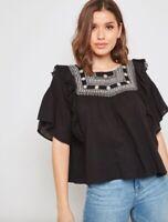 TOPSHOP Black boho embroidered bead yoke smock blouse top size 12 euro 40
