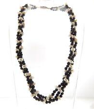 "Freshwater Pearl Black Onyx Necklace Triple Strand .5x17"""