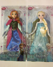 "DISNEY STORE AUTHENTIC EXCLUSIVE - FROZEN ANNA & ESLA 12"" CLASSIC DOLL SET OF 2"
