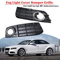 Schwarz Nebelscheinwerfer Grill Gitter links rechts für Audi A4 B8 2009 - 2011