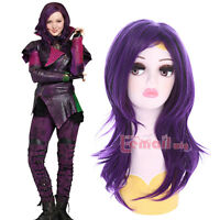 Disney Descendants Mal Cosplay Wig Long Curly Wavy Purple Women Fashion Wigs