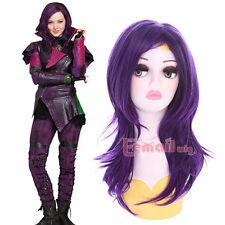 Disney Descendants Mal Medium Long Curly Wavy Purple Cosplay Party Hair Wig
