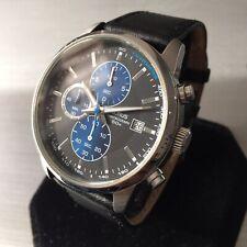 Mens Lorus Seiko Chronograph Watch Black Blue Dial Steel Genuine VD57-X088