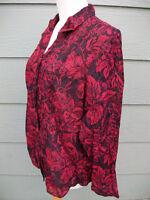 Coldwater Creek Shirt Sz PL Petite L Red Black Floral No Iron Button Blouse Top