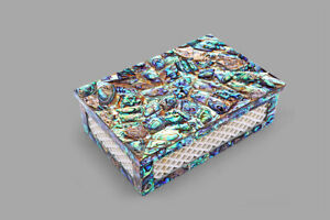 "6""x4""x2"" Marble Keepsake Box Rare Lattice Pauashell Stone Random Art Vintage Box"
