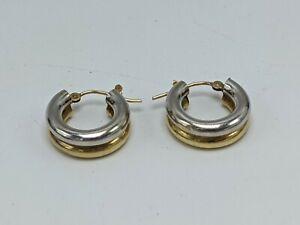 "14K Two-tone Yellow & White Gold 1/2"" Hoop Earrings (1.83g)"