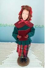 Christmas Carols Vintage Traditional Rare Girl w/ Red Hair Velvet People Clothes