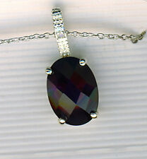 "925 Sterling Silver Blue/Black Cubic Zirconia Stone & Tiny D'mond On 18"" Chain"