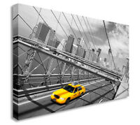 New York City Cab Bridge Canvas Wall Art Picture Print