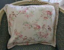 SHABBY CHIC SQUARE PILLOW PINK ROSES BIRDS LINEN COTTON ROMANTIC FADED ASHWELL ?