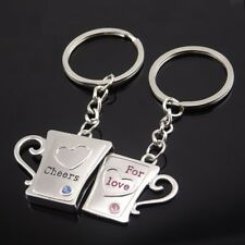 Lot 2pcs/Set Cheers For Love Cup Heart Pendant KeyChain Keyring Keyfob Gift Cute