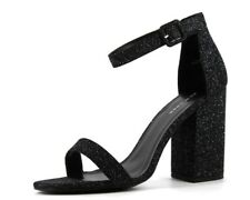 c12c96cb128 New Look Womens UK 7 EU 40 Black Sparkly Glitter Block Heel Ankle Strap  Sandals